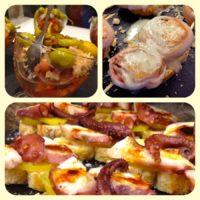 Carne, pescado y vegetales: Trío de pinchos.