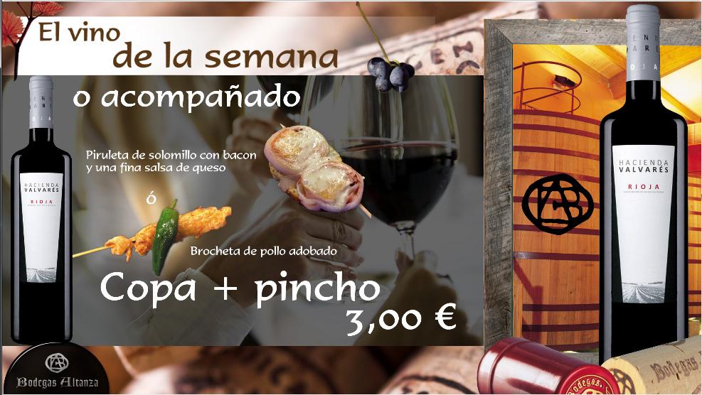 Pincho de solomillo o pollo con vino Hacienda Valvarés de Bodegas Altanza. Oferta